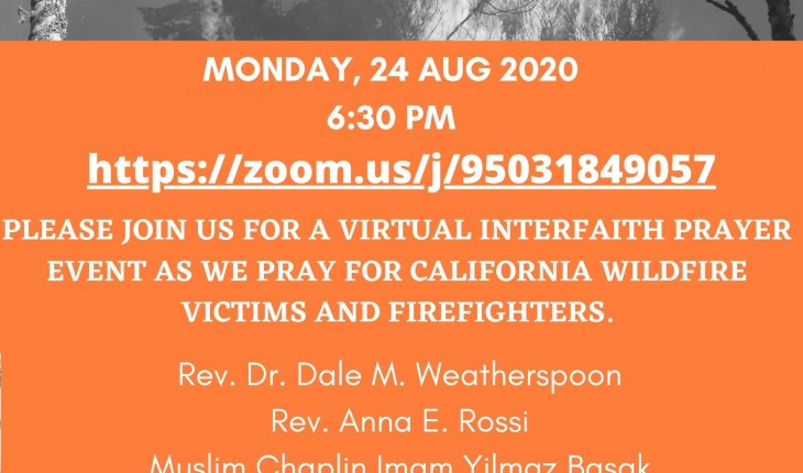 Interfaith Prayer for California Wildfire Victims And Firefighters