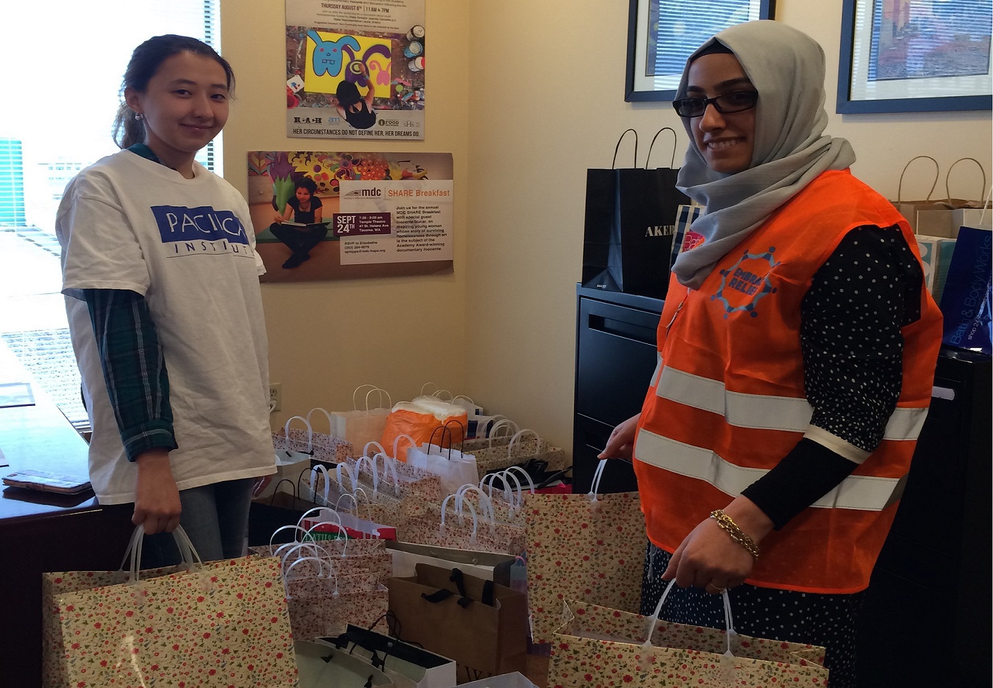 Pacifica Institute and Embrace Relief collected and delivered gift bags of hygiene items to MDC