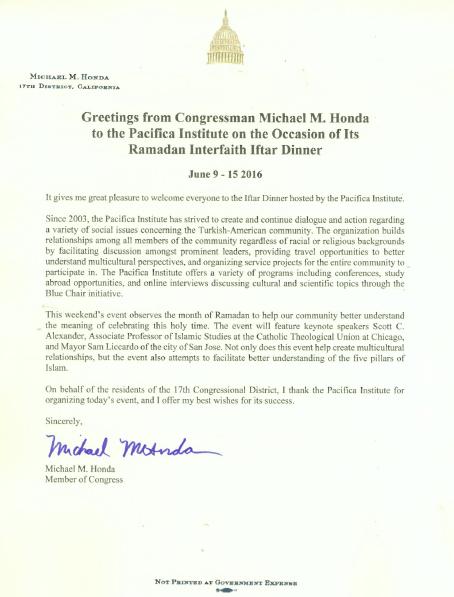 Mike Honda Letter
