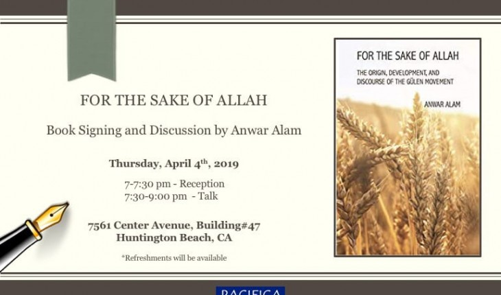 Book Signing and Discussion by Anwar Alam: For the Sake of Allah