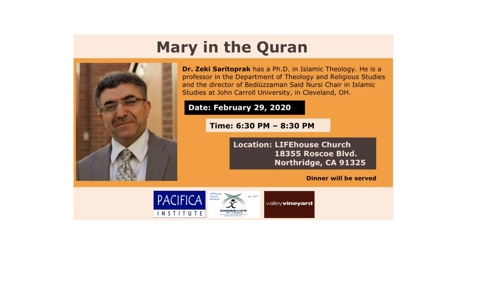 "Talk: ""Mary in the Quran"" by Prof. Zeki Saritoprak"