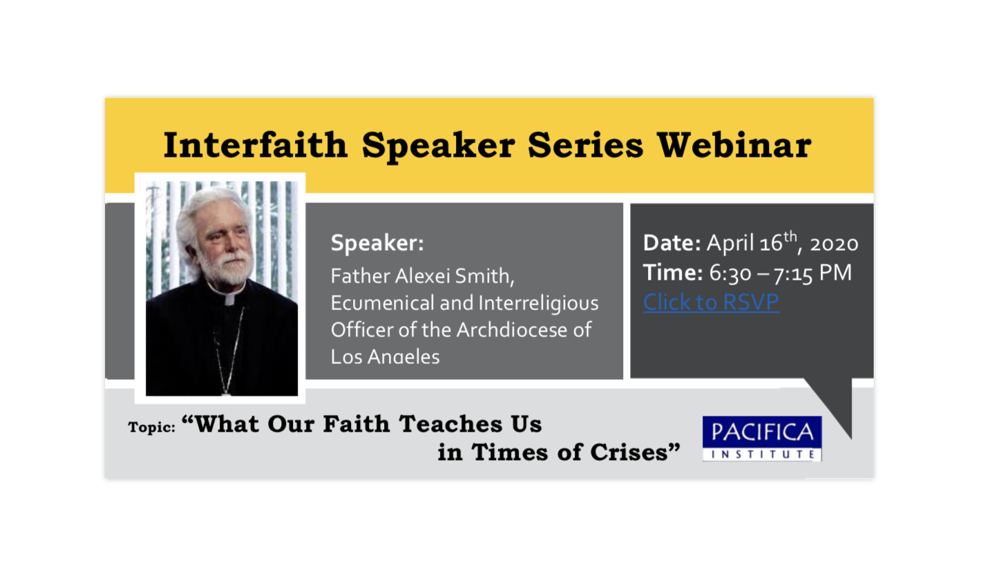 Interfaith Webinar: What Our Faith Teaches us in Times of Crises, Father Alexei Smith- Ecumenical and Interreligious Officer of the Archdiocese of Los Angeles