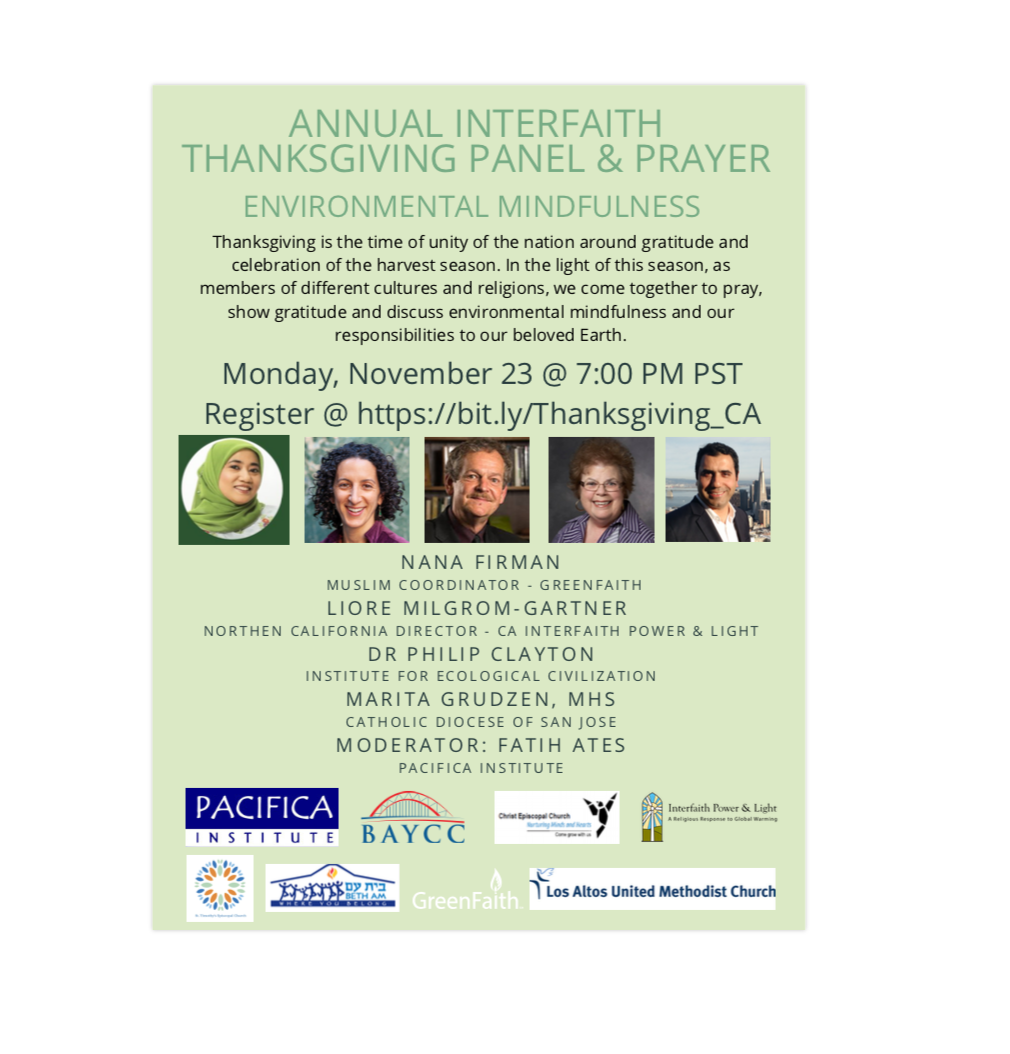 ANNUAL INTERFAITH THANKSGIVING PANEL & PRAYER:  'ENVIRONMENTAL MINDFULNESS'